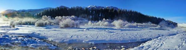 Gebirgslandschaft im Winter lizenzfreie stockbilder
