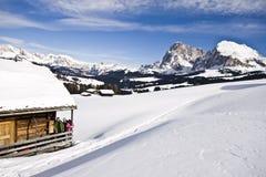 Gebirgslandschaft, Schnee, Chalet Stockfotografie