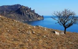 Gebirgslandschaft und das Meer. Foto 3415 Stockfotografie