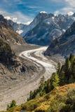 Gebirgsmassiv Mer De Glace Gletscher-Mont Blanc, Frankreich lizenzfreies stockbild