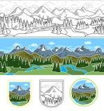 Gebirgsnahtlose Landschaft und -emblem Stockbild