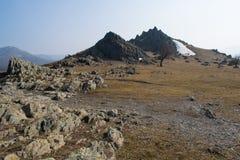 Gebirgsnationalparklandschaft von der Jahreszeit Rumänien-Landes im Frühjahr stockfotos