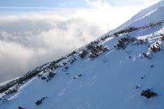 Gebirgsrücken hohes Tatras slowakei Panorama des bewölkten blauen Winterhimmels über den Schnee-mit einer Kappe bedeckten Spitzen lizenzfreies stockbild