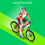 Gebirgsradfahrender Radfahrer-Radfahrer-Athleten-Summer Games Icon-Satz Gebirgsradfahrendes Radfahrenkonzept isometrisches Sport- Lizenzfreie Stockfotos