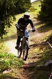 Gebirgsradfahrer auf abschüssigem rce Stockfotos