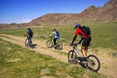 Gebirgsradfahrer auf alter Straße in der Steppe Lizenzfreies Stockbild