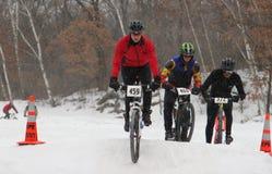 Gebirgsradfahrer, die im Rennen konkurrieren stockfotos