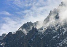 Gebirgsscheitel nah an Mont Blanc Stockfoto