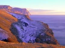 Gebirgsschnee Purpurroter Sonnenuntergang Lizenzfreie Stockfotos