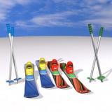 Gebirgsskifahren mit Befestigungen, Matten und Steuerknüppeln Lizenzfreie Stockfotos