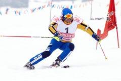 GebirgsSkifahrer auf Rennen Lizenzfreie Stockfotografie