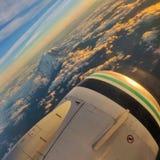 Gebirgsspitze vom Flug in Seattle stockfotografie