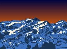 Gebirgsspitzensonnenuntergang Realistischer Vektorlandschaftshintergrund Von Hand gezeichnetes Bild Stockbild