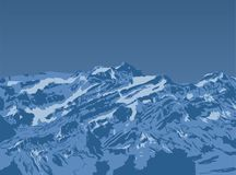 Gebirgsspitzensonnenuntergang Realistischer Vektorlandschaftshintergrund Von Hand gezeichnetes Bild Lizenzfreie Stockfotografie