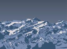 Gebirgsspitzensonnenuntergang Realistischer Vektorlandschaftshintergrund Von Hand gezeichnetes Bild Lizenzfreies Stockbild