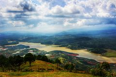 Gebirgsstandpunkt auf Liang Biang-Berg - Dalat, Vietnam Lizenzfreies Stockbild