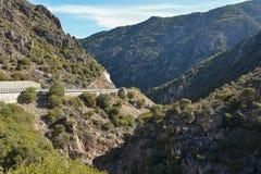 Gebirgsstraße auf der Insel von Sardinien Lizenzfreies Stockfoto