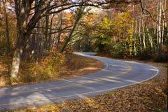 Gebirgsstraßenwinde durch sunlit Herbstwald. Lizenzfreies Stockbild