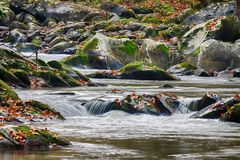 Gebirgsstrom mit moosigen Felsen stockfotografie