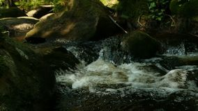 Gebirgsstrom unter enormen Flusssteinen stock footage