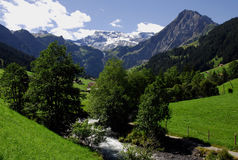 Gebirgsszene, Adelboden, die Schweiz Lizenzfreies Stockfoto