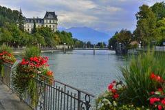 Gebirgsszene, Thun, die Schweiz Stockbild