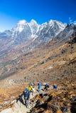Gebirgstal-Ansicht-Gruppe Wanderer, die auf Hintervertikale gehen stockfotografie
