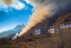 Gebirgswaldbrand in Lachung Sikkim, Indien Stockbild
