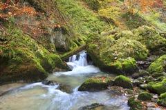 Gebirgswasserfall. schnelles Flusswasser Stockfotos