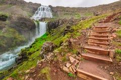 Gebirgsweg, der zu den Wasserfall, Island führt Stockfotografie