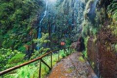 Gebirgsweg zu fontes Levada DAS 25 und Levada tun Risco, Madeira Lizenzfreies Stockfoto