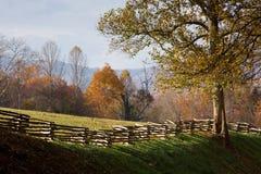 Gebirgsweide mit hölzernem Zaun der aufgeteilten Schiene Stockfotos