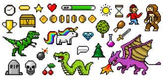 Gebissene Gegenstände der Pixelkunst 8 Retro- Spielanlagegüter Set Ikonen Weinlesecomputervideospielhallen Charakterdinosaurierpo lizenzfreie abbildung