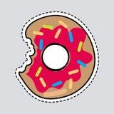 Gebissener Donut Logo Patch Herausgeschnittener Donut-Aufkleber stock abbildung
