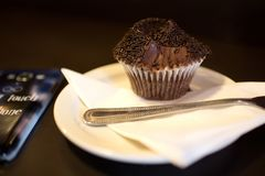 Gebissener frischer gebackener Schokoladenkleiner kuchen dunkle Lebensmittelphotographie lizenzfreie stockfotos