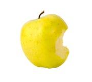 Gebissener Gelbgrünapfel Stockbilder