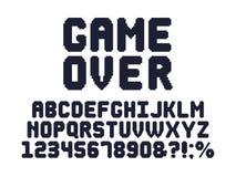 Gebissener Spielguß des Computers 8 Retro- Videospielpixelalphabet-, -spiel80s Typografieentwurf und Pixelbuchstabevektor-satzes vektor abbildung
