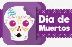 Gebissener Sugar Skull Celebrating u. x22; Dia de Muertos u. x22; in der flachen Art Vector Illustration Lizenzfreies Stockfoto