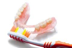 Gebit en tandenborstel Stock Foto