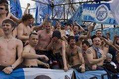 Gebläse an der Meisterschaft von Russland auf Fußball Lizenzfreies Stockbild