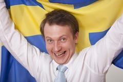 Gebläse mit Schweden-Markierungsfahne lizenzfreies stockfoto