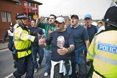 Gebläse Plymouth-Argyle schreien an der rivalisierenden Exeter-Stadt Stockfoto
