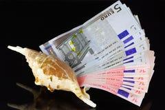 Gebläse vom Geld in einem Marinecockleshell lizenzfreies stockbild