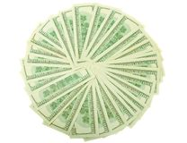 Gebläse von der Zahl der Dollarbanknoten Stockfoto