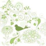 Gebladerte met vogel royalty-vrije illustratie