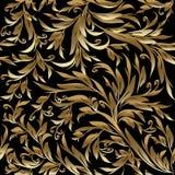 Gebladerte uitstekend gouden naadloos patroon royalty-vrije illustratie