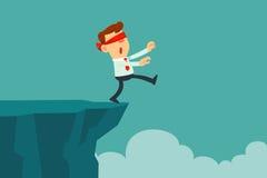 Geblinddochte zakenmangang aan de klip Stock Afbeeldingen