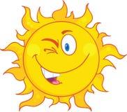 Geblinzelter Sun-Karikatur-Maskottchen-Charakter