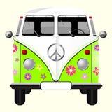 Gebloeide hippiebestelwagen vector illustratie