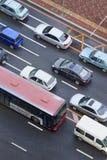 Geblokkeerd verkeer in Dalian centrum, China royalty-vrije stock foto